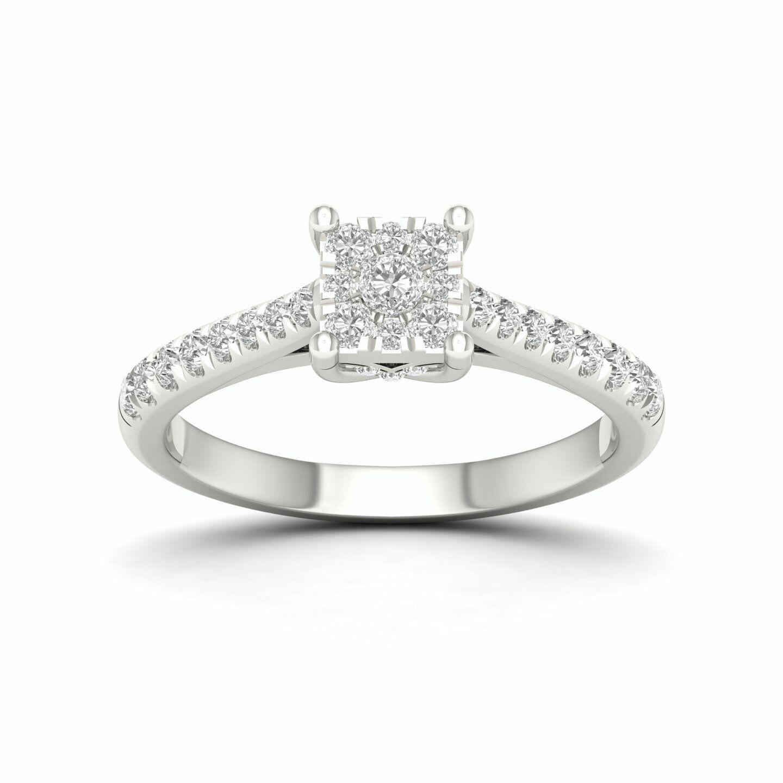 10k White gold 1 2ct TDW Diamond Cluster Ring