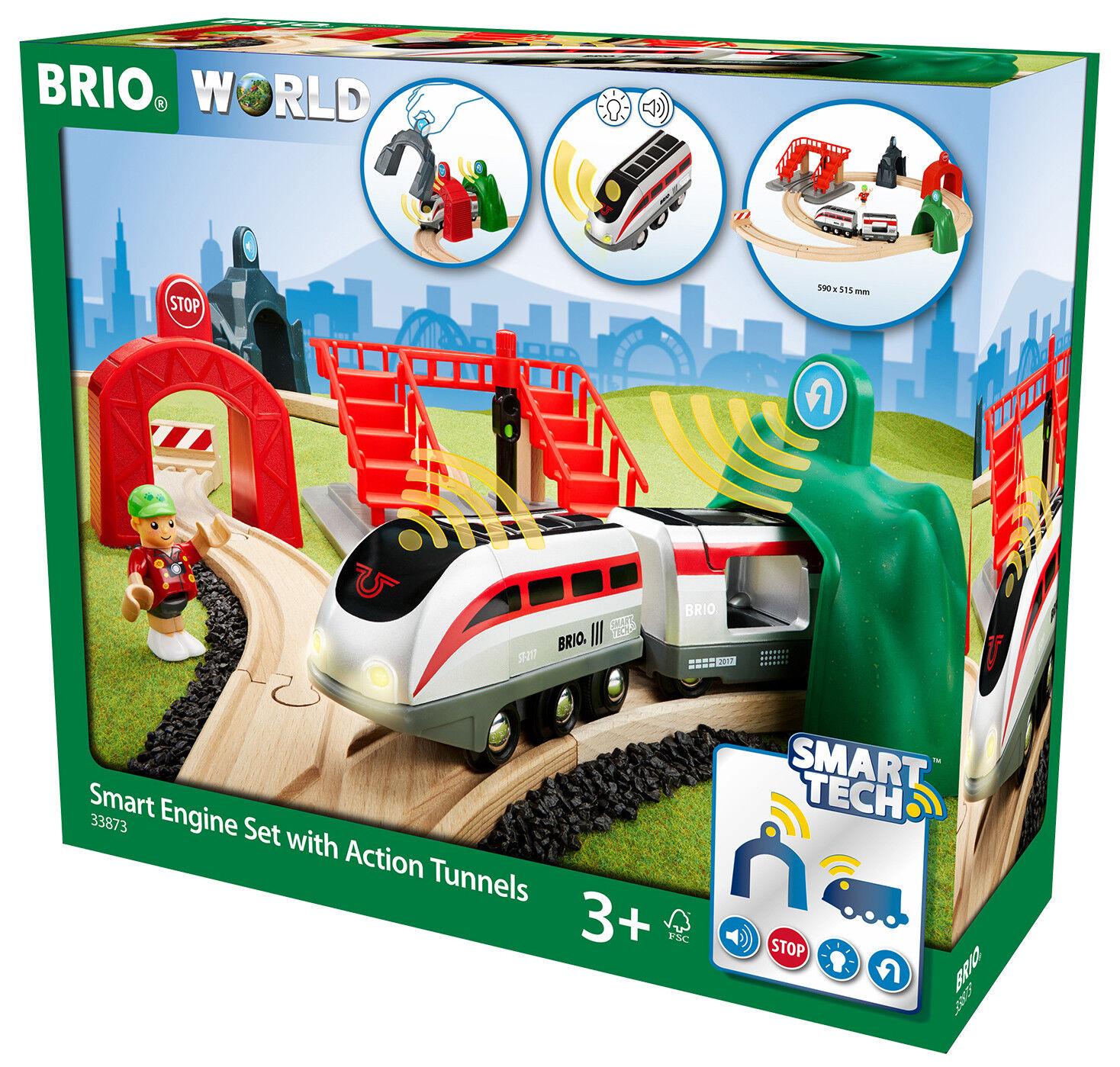 Brio Holz Trains Smart Tech Motor Set mit Aktion Tunnel 17 Stücke 33873