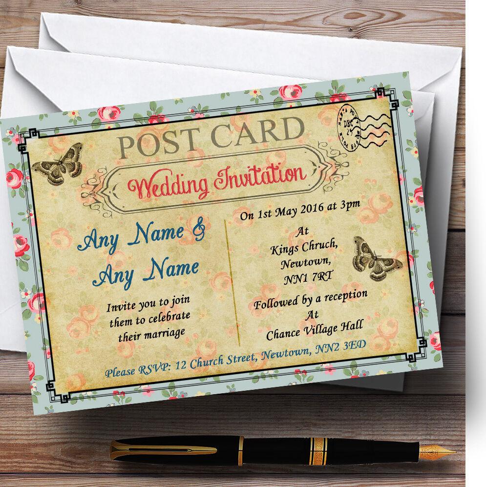 Bleu rose rose rose floral paris carte postale mariage invitations personnalisées 91bf96