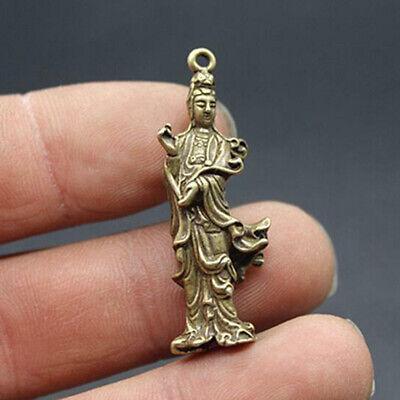 Chinese pure brass Guanyin bodhisattva Buddha Small pendant