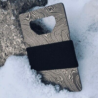 STOIC Damascus Steel Wallet Card Holder with Bottle Opener and Elastic Strap