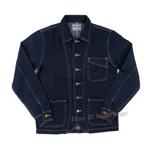 Men/'s Railroad Veste en Jean Vintage à Rayures Travail Jeans Casual Outwear Manteau Tops