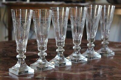 6 schöne Sektgläser mit Französische Lilie Schwertlilie ECHT HANDGESCHLIFFEN