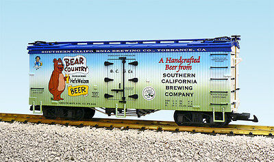 USA Trains G Scale US Reefer Car R16419 Bear Country Beer 3 Tone Blue/White/Gree