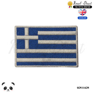 GREECE-National-Flag-Embroidered-Iron-On-Sew-On-Patch-Badge-For-Clothes-etc