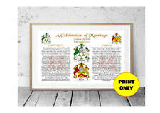 Wedding Marriage Personalised Coat of Arms Name Origin Meaning Print Engagements