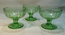3 Green Depression Glasses Sherbet Bowl Footed Paneled Sides