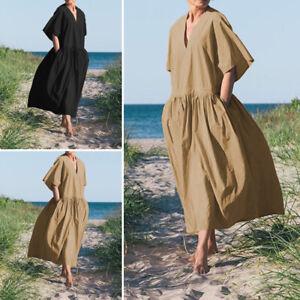Mode-Femme-Casual-en-vrac-Demi-Manche-Col-V-Loisir-Robe-Dresse-Grande-Taille