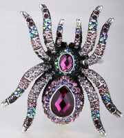 Spider stretch ring halloween party jewelry gift silver purple crystal 1Q
