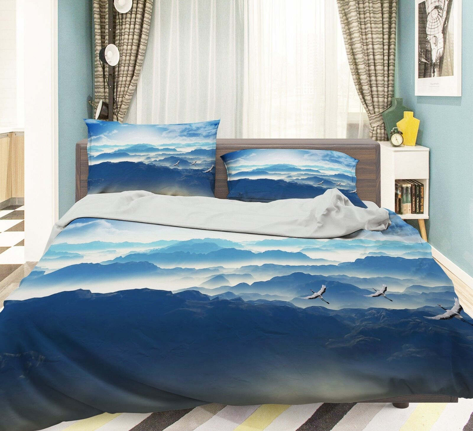 3D Hill Sky Bird 683 Bed Pillowcases Quilt Duvet Cover Set Single King UK Summer