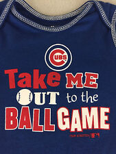 Team Athletics Cubs Baby One Piece Blue Take Me Out To The Ball Game 3/6M