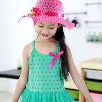 Sun Hat Kid Children Hats Flower Straw Cap Tote Handbag Bag Suit 9Color