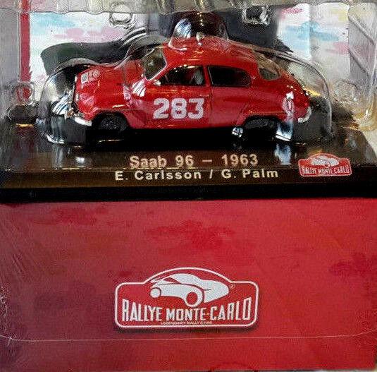 auténtico Maravilloso MODELCoche Saab 96 96 96  283 Rallye Monte Cochelo 1963-rojo - 1 43 - Lim.  primera vez respuesta
