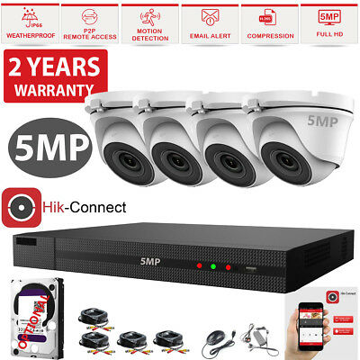 CCTV ULTRA HD 5MP NightVision Outdoor DVR HIK-CONNECT Home Security System  Kit | eBay