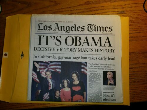 2008 LA Times Election Newspaper Los Angeles Barack History Its Obama Nov 5