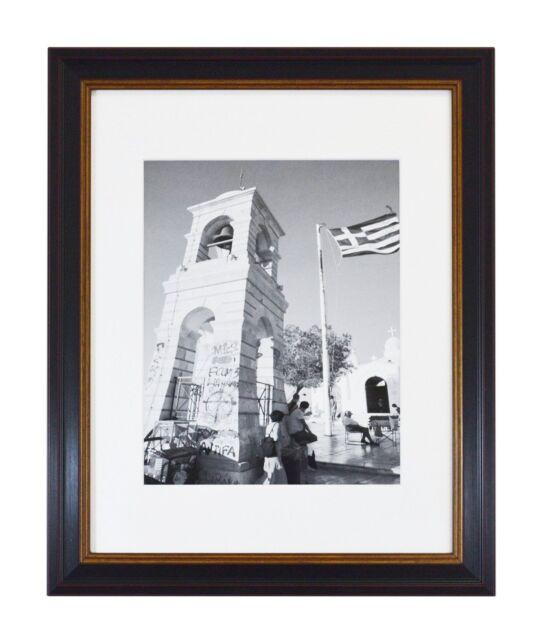 11x14 Black Photo Frame With Burgundy & Gold Trim White Mat for 8x10 ...