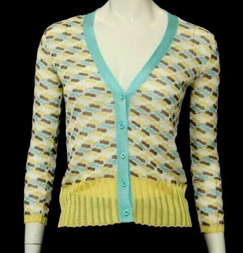 Vacker designer Mina damer MISONI bildigan tröja Storlek 10 ITALIEN