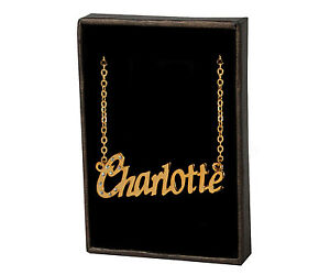 Image Is Loading 034 CHARLOTTE Name Necklace 18K Gold Plated