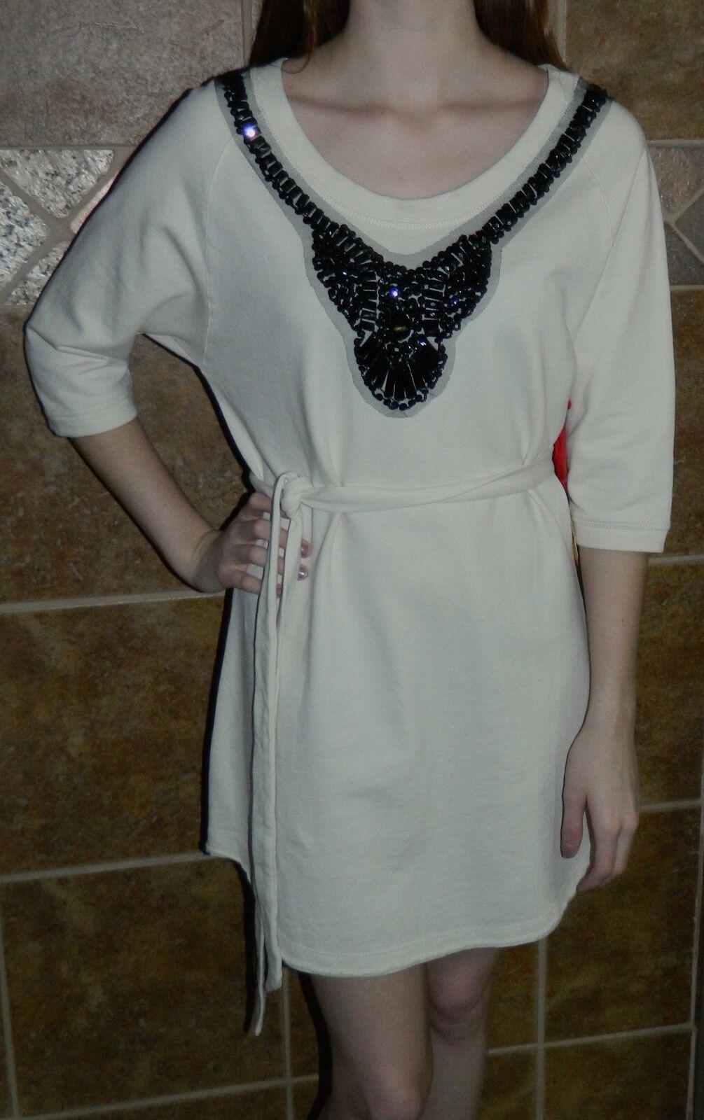 NWT Twisted Heart Beige schwarz Bead Jewel Tunic  Dress MSRP  Sz S, L