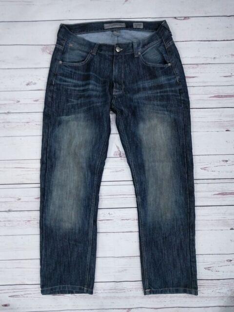 Paper Denim & Cloth Men's Slim Straight Jeans Size 33 x 29 Dark Wash Whiskering
