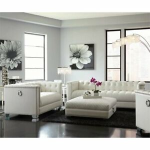 Wondrous Details About Coaster Chaviano 2 Piece Tufted Sofa Set In White Alphanode Cool Chair Designs And Ideas Alphanodeonline