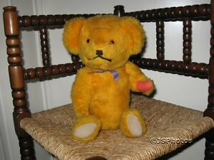 German-Antique-Jointed-Yellow-Bear-Wood-Fiber-15-inch