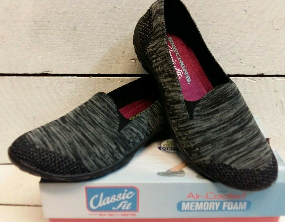 Ladies Ladies Ladies Skechers 23110 Looking Good Black Charcoal Slip On Pump b341e3