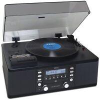 Teac Lp-r550usb-b Cd Burner Cassette Am/fm Radio Turntable Record Player Black