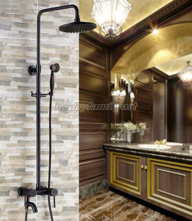 D'huile Noir Laiton antique salle de bains pluie Douche robinet set baignoire mitigeur yrs362