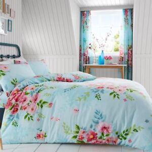 Funda Nordica Turquesa.Detalles De Alice Floral Funda Nordica De Cama Flores Y Hojas Turquesa Rosa Adulto