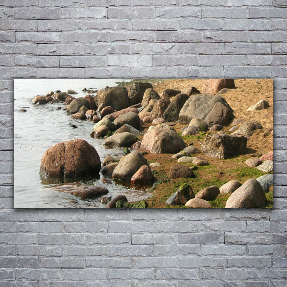 Verre Imprimer Wall Art Image 120x60 Image Pierres Mer Paysage