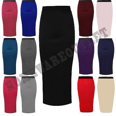 Ladies Plain Office Women Stretch Bodycon Midi Pencil Skirt Plus Size 8-22*WigL