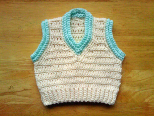Handmade Crocheted Baby Unisex Pullover Sans Manche//Débardeur//pull diverses couleurs acrylique