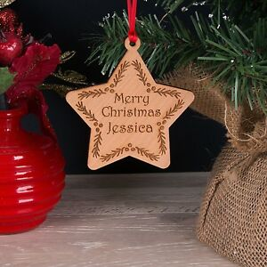 Personalised-First-Name-Cherry-Wood-Christmas-Tree-Decoration-Star-Bauble-Gift