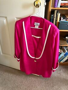 Lady-Carol-Vintage-S-14-Blazer-With-Shoulder-Pads-Fuschia-W-white-Trim-Fr-Ship