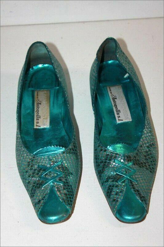 CARMEN POVEDA Escarpins Pointus Vintage Turquoise Brillants Nacrés T 36 BE