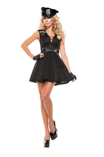 Sexy Starline Fashion Police Cop Black Dress 3pc Costume S5031