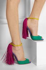 CHRISTIAN LOUBOUTIN Otrot 120 Pink Green Fringe Colorblock Tassel Heel 8.5/9/39