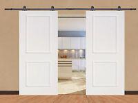 12ft Black Sliding Door Hardware Set W/ 2x 36 Wide White Primed Mdf Door Planks on sale