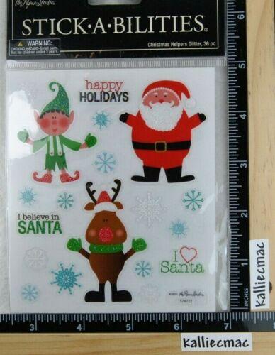 Stickabilities CHRISTMAS HELPERS GLITTER Paper Studio 2 Sticker Strips SANTA ELF