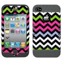 Apple iPhone 4 4S Pink Black Chevron Stripes Case w/ Gray Impact Silicone Cover