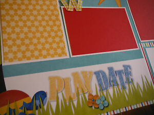 Playdate Friends Two 12x12 Premade Scrapbook Pages 4 Summer GREAT WOW