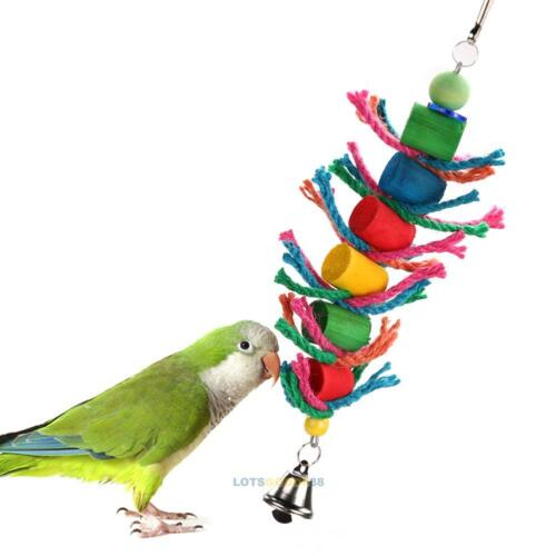 Wood Hanging Colorful Pet Bird Cage Cylinder and Rope Toy for Parrot Cockatiel