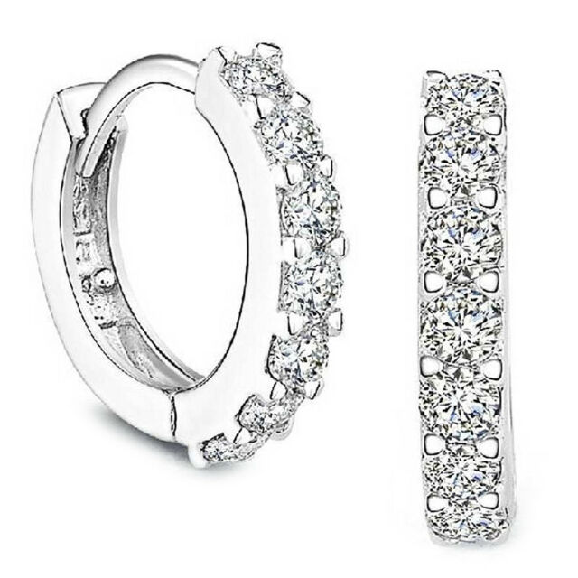Silver Rhinestones Hoop Diamond Stud Earrings for Women E4Q2