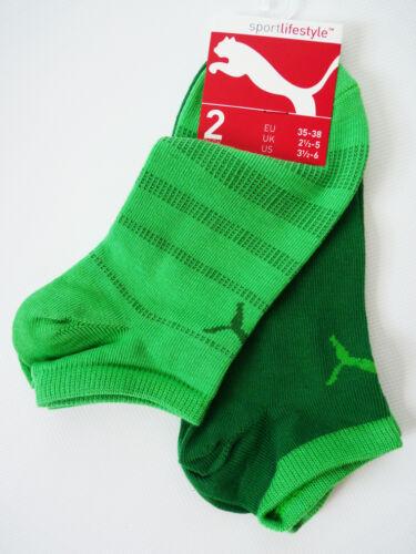 Puma 2 Paires De Chaussettes Femmes polarzip Chaussettes Sneaker Vert Socks 35 36 37 38 NOUVEAU