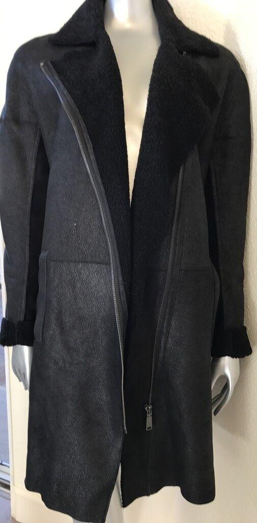 3K NWT Elie Tahari Spanish Lamb Sheepskin Shearling Suede Fur Asymmetrical Coat