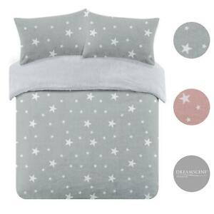 Dreamscene Stars Teddy Fleece Duvet Cover with Pillowcase Soft Plush Bedding Set