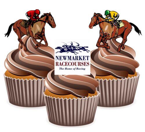 PRECUT Horse Racing Newmarket Racecourse 12 Edible Cupcake Toppers Decorations