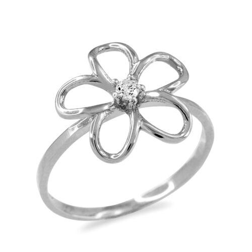 14k or Blanc Diamant Plumeria ajourée Design Ring