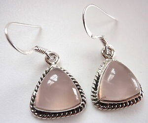 Rose-Quartz-Triangles-925-Sterling-Silver-Dangle-Earrings-w-Rope-Style-Accents